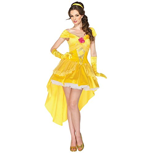 AB2 Adult Disney Princess Belle Inspired by Beauty and the Beast Dress Costume Cosplay Halloween Party Dress S-XL (Belle Halloween Costume Hair)