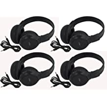 """Four Pack of Two Channel Folding Adjustable Universal Rear Entertainment System Infrared Headphones With Four Additional 48"""" 3.5mm Auxiliary Cords Wireless IR DVD Player Head Phones for in Car TV Video Audio Listening With Superior Sound Quality"""