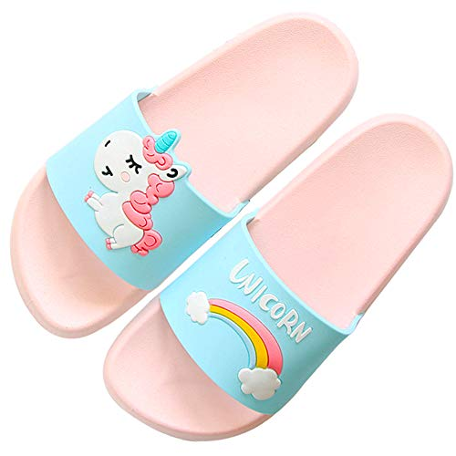 Anddyam Kids Family Household Sandals Anti-Slip Indoor Outdoor Home Slippers for Girls and Boys (US Little Kid (7-8 Years), Rainbow Unicorn)