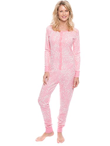 Noble Mount Women's Waffle Knit Thermal Onesie - Leopard Pink/Grey - Small