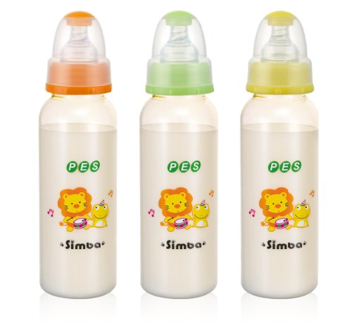 Simba BPA Free PES Natural Flow Standard Neck Feeding Bottle (Color Vary, 1 pc) (Set of 3 (8 ()