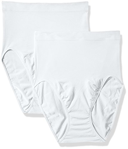 Flexees Women's Shapewear Hi-Cut Brief 2-Pack, White, XXX-Large