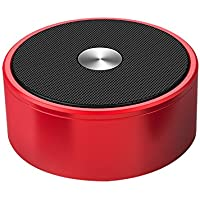 Mini Portable Metal Bluetooth Speaker, Stereo Wireless Powerful Sound and Heavy Bass Round Speaker with Built-in Mic, AUX and TF Card foriPhone iPad tablet Samsung and smart phones, Gift ideas - Red