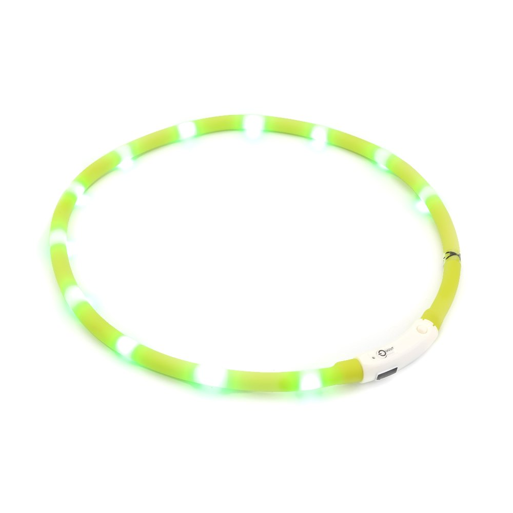 ZOGIN LED Pet Dog Collar, USB Rechargeable LED Dog Safety Flashing Light Collar-Green
