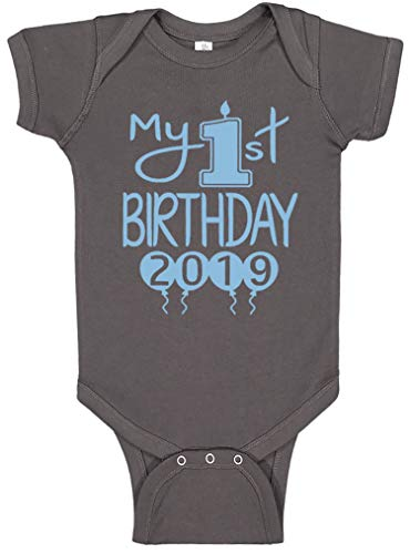 Reaxion Aiden's Corner Handmade 1st Birthday Baby Clothes - Baby Boy My First Birthday Bodysuits & Shirts (12 Months, 2019 Lt Blue Charcoal) ()