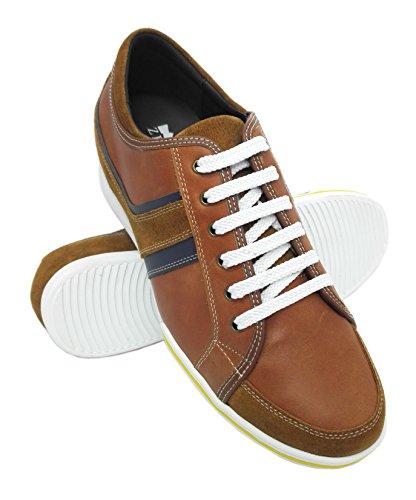 Zerimar Hoogte Verhogende Lift Schoenen Voor Heren Toevoegen + 2,4 Inch Aan Uw Hoogte Kwaliteit Lederen Schoenen Gemaakt In Spanje Bruin