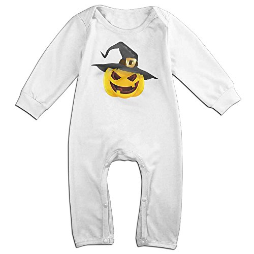 Baby Infant Romper Pumpkin Face Halloween Long Sleeve Jumpsuit Costume White 24 (Snow White Halloween Face)