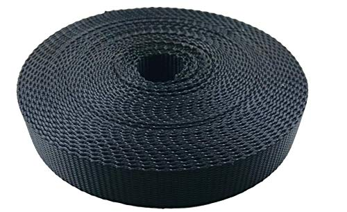 EZ-Xtend Boat Zipper Polyester Webbing 1 inch - Heavy Duty Strapping Outlasts and Outperforms Nylon Webbing 1 Inch and Polypropylene Webbing 1 Inch - 4500 Lb. Breaking Strength (Black, 1
