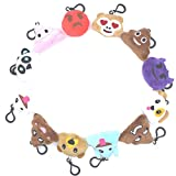 "Emoji Mini Pillow Party Supplies Favors Decorate for Backpack, 2"" 12 Pack Cute Poop Keychain Plush Halloween Sets- Devil, Ghost, Animals, Panda, Dog, One Kit Key Chain Lanyard Funny Kids Toys for Girl"