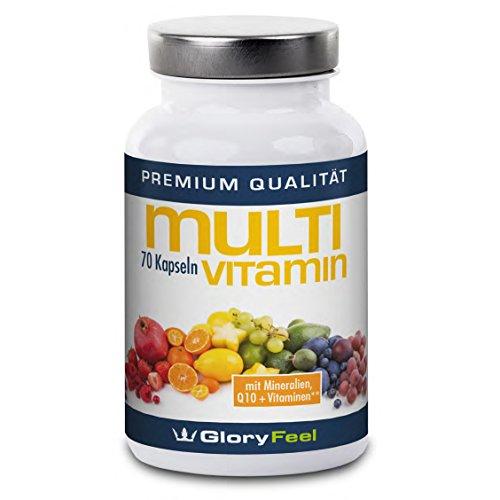 Multivitamin Kapseln, Multivitamine A-Z + Multimineral Komplex + Q10 - 70 vegane Kapseln Multivitamin Hochdosiert mit 25 Vitaminen und Mineralstoffe - Premiumqualität Deutscher Herstellung
