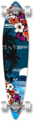 Yocaher Beach Series Complete Pintail Skateboards Longboard Cruiser w Black Widow Premium 80A Grip Tape Aluminum Truck ABEC7 Bearing 70mm Skateboard Wheels