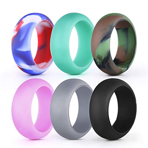 sikiwind Silicone Wedding Ring/Band for Men and Women 6 Pack Comfortable and Durable Sport Ring Replacement - 8.7mm Wide(Size 9)