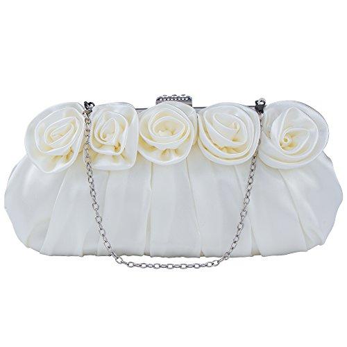 Party Purse Inlaid Rhinestones Flower Rose Evening Wedding Satin Bag White Women's Clutch With Bagood Handbag vtpwxZnOq