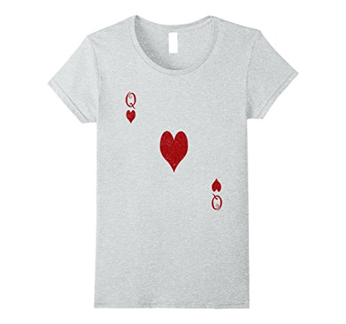 Jean Grey Costume Halloween (Womens Queen of Hearts Tshirt Costume - Distressed Royal Flush Medium Heather Grey)