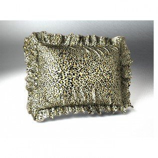 Jaguar Print Satin Ruffled Pillow Sham, Standard