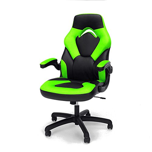 Pc Gaming Chair Leather Black And Green Full Back