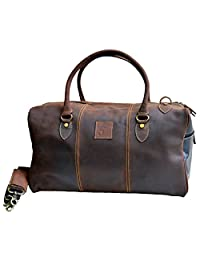 "Jaald 20"" Genuine Leather travel Duffel bag Gym Sports Weekend Duffle Bag gift"
