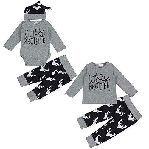 Pasgeboren Baby Boy Matching Outfits Big Brother Little Brother Herten Romper
