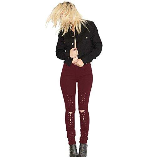 Fashion Pure 204 Pantalon Bandage Femmes Grande red de Out Color Hauteur Micro HBA wine de lastique Jeans Cut pwSvO