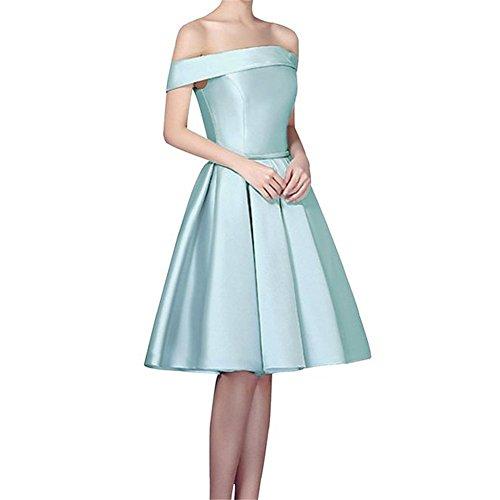 Cocktail Kurz Party Ball Kleider drasawee Abendkleider Schulterfrei Satin Blau Damen Elegant Heimkehr A Linie qwBpSRPx