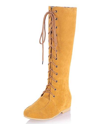 XZZ  Damen-Stiefel-Kleid     Lässig-Kunstleder-Keilabsatz-Rundeschuh   Reitstiefel-Schwarz   Gelb   Grau B01KPZUV6W Sport- & Outdoorschuhe Schöne Farbe 8139b2