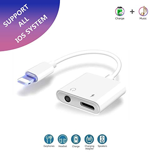 2 in 1 Lighting to 3.5mm Headphone Jack aux Adapter, Lampari Aux Adapter Cable Compatible with Phone 7/7 Plus / 8/8 Plus/X/XS/XR/XS Max, Audio and Charge Adapter (Support iOS 11, iOS12)-White
