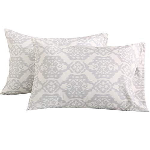 Vonty Floral Printed Pillowcase Standard Size, Brushed Microfiber Grey Pillowcase Set 20