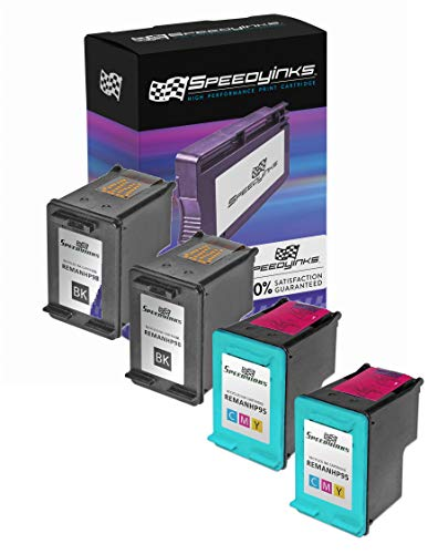 Speedy Inks Remanufactured Ink Cartridge Replacement for HP 98 and HP 95 (2 Black, 2 Color, ()