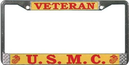 U.S. Marine Veteran Chrome Metal License Plate Frame Veteran Metal