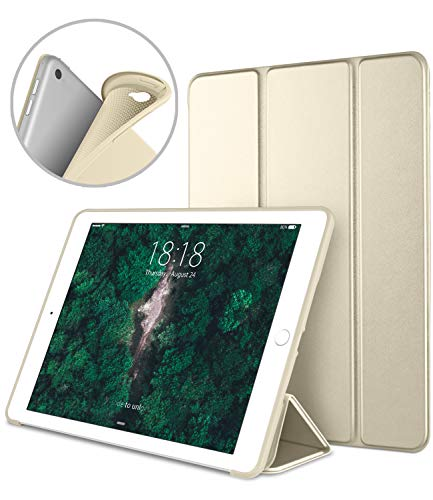Apple iPad Air2 9.7 Inch Smart Cover, DTTO Ultra Slim Lightweight Smart Case Trifold Cover Stand with Flexible Soft TPU Back Cover for iPad Apple iPad Air2,9.7-inch [Auto Sleep/Wake], Champagne Gold