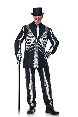 Underwraps Men's Plus-Size Bone Daddy Skeleton Suit Costume, Black & White, XX-Large