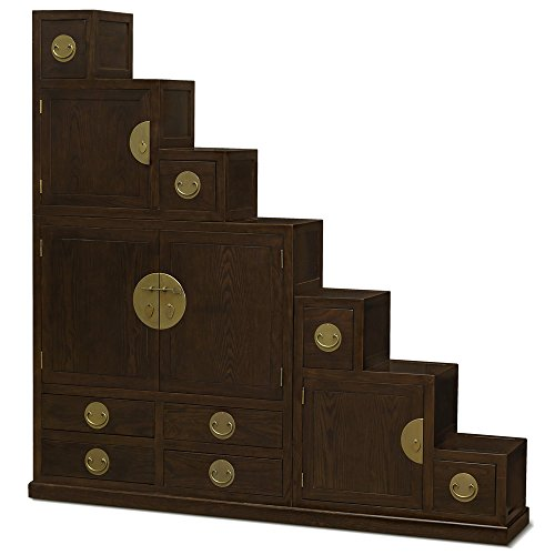 - ChinaFurnitureOnline Elmwood Tansu Chest, Hand Crafted Ming Style Japanese Tansu Step Cabinet in Mahogany Finish