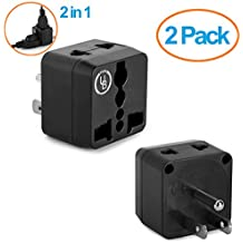Yubi Power 2 Pack - 2 in 1 Universal Travel Adapter with 2 Universal Outlets - Black - Type B