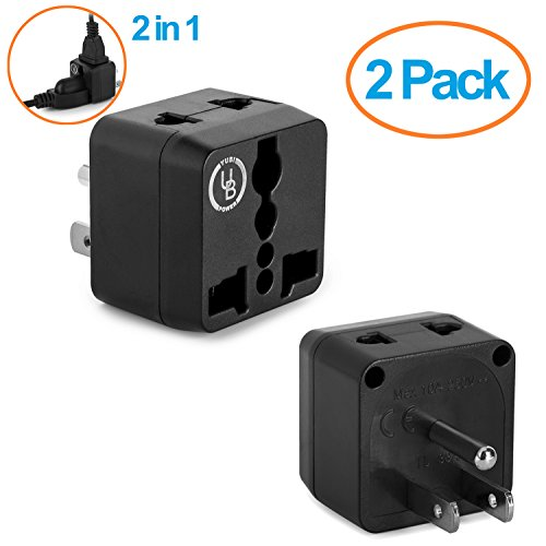 Yubi Power 2 Pack - 2 in 1 Universal Travel Adapter with 2 Universal Outlets - Black - Type - Costa Outlet