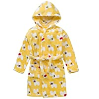 Dog Animal Hooded Bath Robe Towel Soft Flannel Plush Children Pajamas Yellow 2t-5t