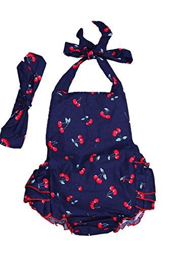 DQdq Baby Girls' Wave Striped Ruffles Romper Summer Dress Deep Blue 12 - 1 Usps Price Day Shipping
