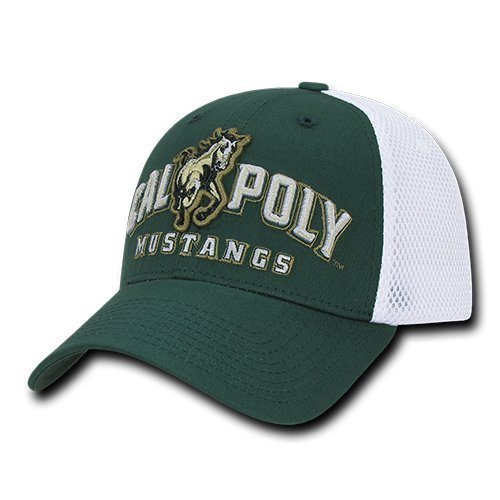 - W Republic Apparel Structured Mesh Flex Cap, Cal Poly, Hunter White, One Size