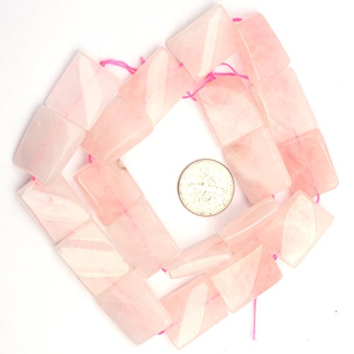 (Pink Quartz Beads for Jewelry Making Natural Semi Precious Gemstone 15x20mm Twist Rectangle Strand 15