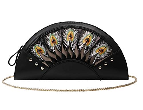 Hand Hand and Embossed Feather Tooled Designer Bellorita Painted Leather Clutch Black Women Crossbody Peacock Handbags StqwdgE