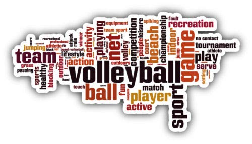 (Craftmag Volleyball Sport Word Cloud Vinyl Sticker Decal Outside Inside Using for Laptops Water Bottles Cars Trucks Bumpers Walls, 6'' x 3'')