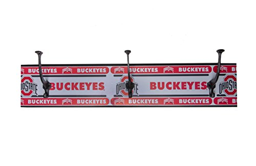 Ohio State Buckeyes 3 hook Entryway wall coat rack 27 1/2 x 5 ½ made in the USA
