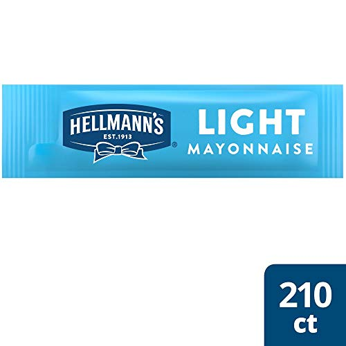 Hellmanns Light Mayonnaise Stick Packets Easy Open, Made with 100% Cage Free Eggs, Gluten Free, 0.38 oz, Pack of 210