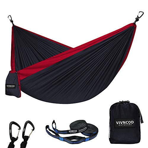 VIVNCOD Single Double Camping Hammock with Tree Straps, Lightweight Parachute Nylon Hammock, Portable Indoor Outdoor Hammocks for Hiking, Camping, Backpacking, Travel, Yard, Beach