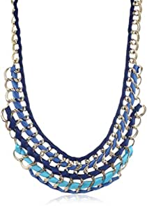 Amrita Singh Woven Ribbon and Metal Bib Necklace