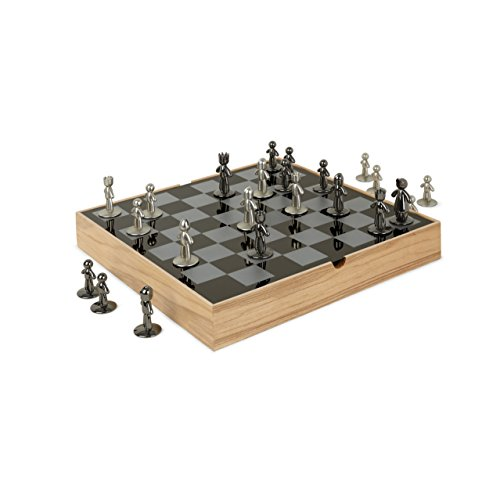 Umbra Buddy Chess Set For Kids & Adults - Modern Original Chessboard Game Made of Metal With Nickel & Titanium Finish - Measures 13 x 13 by 1 ½ Inch (33 x 33 x 3.8 cm) - Velvet Bottom for Easy Moving