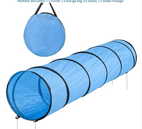 (WJHA Pet Tunnel, Play Funny Pets Toys Blue Foldable Breathable Mesh Interactive 5M Pet Channel Pet Cat Dog Tunnel Children Crawling Channel)