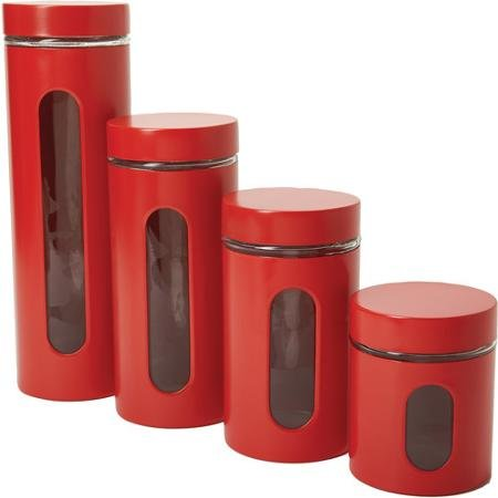 Set Window Canister (Anchor Hocking 4-Piece Palladian Canister Set with Window, Cherry)