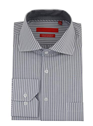 (DTI GV Executive Mens Striped Dress Shirt Cotton Spread Collar Barrel Cuff (17.5