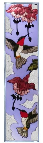 Hummingbirds Ruby Throated (Contemporary) Vertical Art Glass Panel Wall Hanging Suncatcher 42 x 10