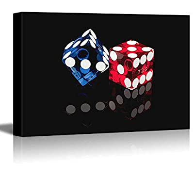 Blue And Red Casino Dice - Canvas Art